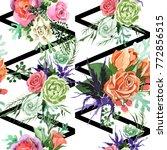 bouquet flower pattern in a... | Shutterstock . vector #772856515