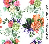 bouquet flower pattern in a... | Shutterstock . vector #772856545