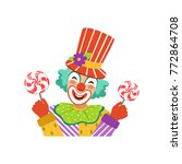 funny circus clown in... | Shutterstock .eps vector #772864708