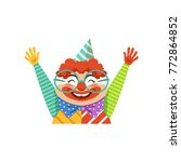 funny circus clown in... | Shutterstock .eps vector #772864852