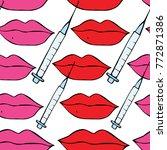 lips and syringe illustration.... | Shutterstock . vector #772871386