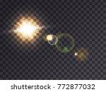 bright luminous sun with light... | Shutterstock .eps vector #772877032