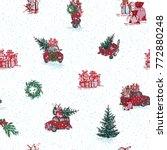 vintage seamless merry... | Shutterstock . vector #772880248