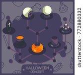 halloween color isometric... | Shutterstock .eps vector #772880332