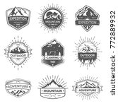 set of nine vector mountain and ... | Shutterstock .eps vector #772889932