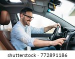man using gps navigation system ... | Shutterstock . vector #772891186