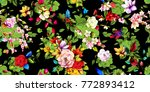 wide vintage seamless pattern.... | Shutterstock .eps vector #772893412