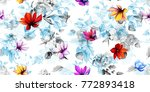 wide vintage seamless floral... | Shutterstock .eps vector #772893418