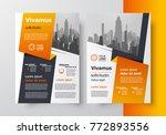 orange ribbon brochure desig... | Shutterstock .eps vector #772893556