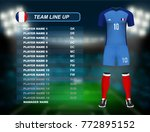 france soccer jersey kit with... | Shutterstock .eps vector #772895152
