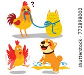 cute rooster surprised opening... | Shutterstock .eps vector #772898002