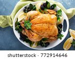 roasted chicken with lemon and... | Shutterstock . vector #772914646
