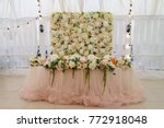 wedding presidium in restaurant ... | Shutterstock . vector #772918048