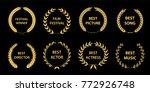 film awards wreaths set.  film... | Shutterstock .eps vector #772926748