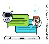 chatbot concept. man chatting... | Shutterstock .eps vector #772927126