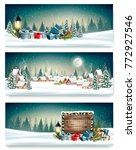 three holiday christmas banners ... | Shutterstock .eps vector #772927546