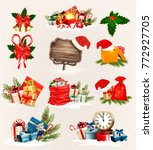 big set of christmas icons and... | Shutterstock .eps vector #772927705
