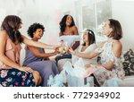 multiethnic group of friends... | Shutterstock . vector #772934902