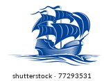Sail Ship In Ocean Water For...