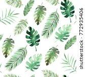 watercolor leaves pattern....   Shutterstock . vector #772935406