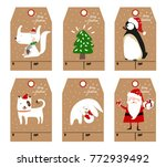 christmas labels and decoration ... | Shutterstock .eps vector #772939492