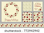 a set of christmas cards and... | Shutterstock .eps vector #772942942