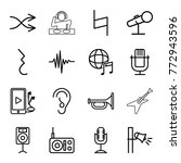 set of 16 sound outline icons...   Shutterstock .eps vector #772943596
