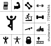 gym icons. set of 13 editable... | Shutterstock .eps vector #772943656