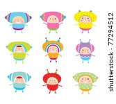 cute happy doodle collection   Shutterstock .eps vector #77294512
