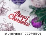 merry christmas red gleaming...   Shutterstock . vector #772945906