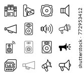 set of 16 loudspeaker outline... | Shutterstock .eps vector #772953412