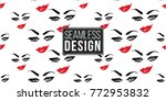 woman smirk vector emoticons ... | Shutterstock .eps vector #772953832