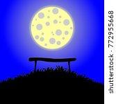 bench against the full moon | Shutterstock .eps vector #772955668