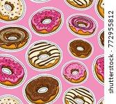 coffee seamless pattern vector  ... | Shutterstock .eps vector #772955812