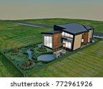 3d design   modern villa  ... | Shutterstock . vector #772961926