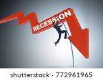 businessman pole vaulting over...   Shutterstock . vector #772961965