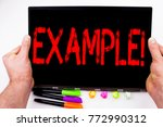 Small photo of Example text written on tablet, computer in the office with marker, pen, stationery. Business concept for Instance Illustration Paradigm For Instance white background with space
