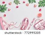 fashion. woman gold accessories ... | Shutterstock . vector #772995205