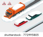 snow plough truck clearing road ... | Shutterstock .eps vector #772995805