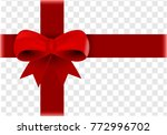 red satin ribbon and bow... | Shutterstock . vector #772996702