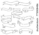 hand drawn vintage ribbon set.... | Shutterstock .eps vector #773008486