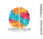 creative brain logo design.... | Shutterstock .eps vector #773008846