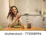 girl having breakfast | Shutterstock . vector #773008996