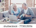 two elderly people are sitting... | Shutterstock . vector #773015056