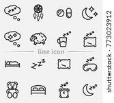 set of sleep outline vector... | Shutterstock .eps vector #773023912