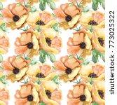 seamless wallpaper with summer... | Shutterstock . vector #773025322