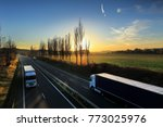 truck transportation on the... | Shutterstock . vector #773025976