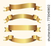 set of golden ribbons vector. | Shutterstock .eps vector #773040802