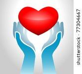image of hands holding heart up ... | Shutterstock .eps vector #77304667