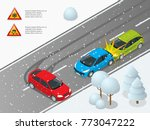 isometric winter slippery road  ... | Shutterstock .eps vector #773047222